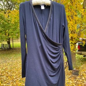 NAVY BLUE RUCHED, STUDDED DRESS